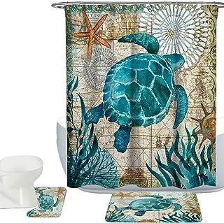 Amagical Sea World Sea Turtle Pattern 15 Piece Bathroom Mat Set Shower Curtain Set Bathroom Mat Carpet Contour Mat Fabric Waterproof Shower Curtain with 12 Hooks