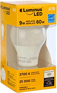 Luminus PLYC1252 A19 Omni-9.5W (60W) 800 Lumens Warm White 2700K Dimmable LED Light Bulb-6 Pack