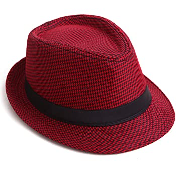 Red W18S44D Fedora with Pleated Satin Band