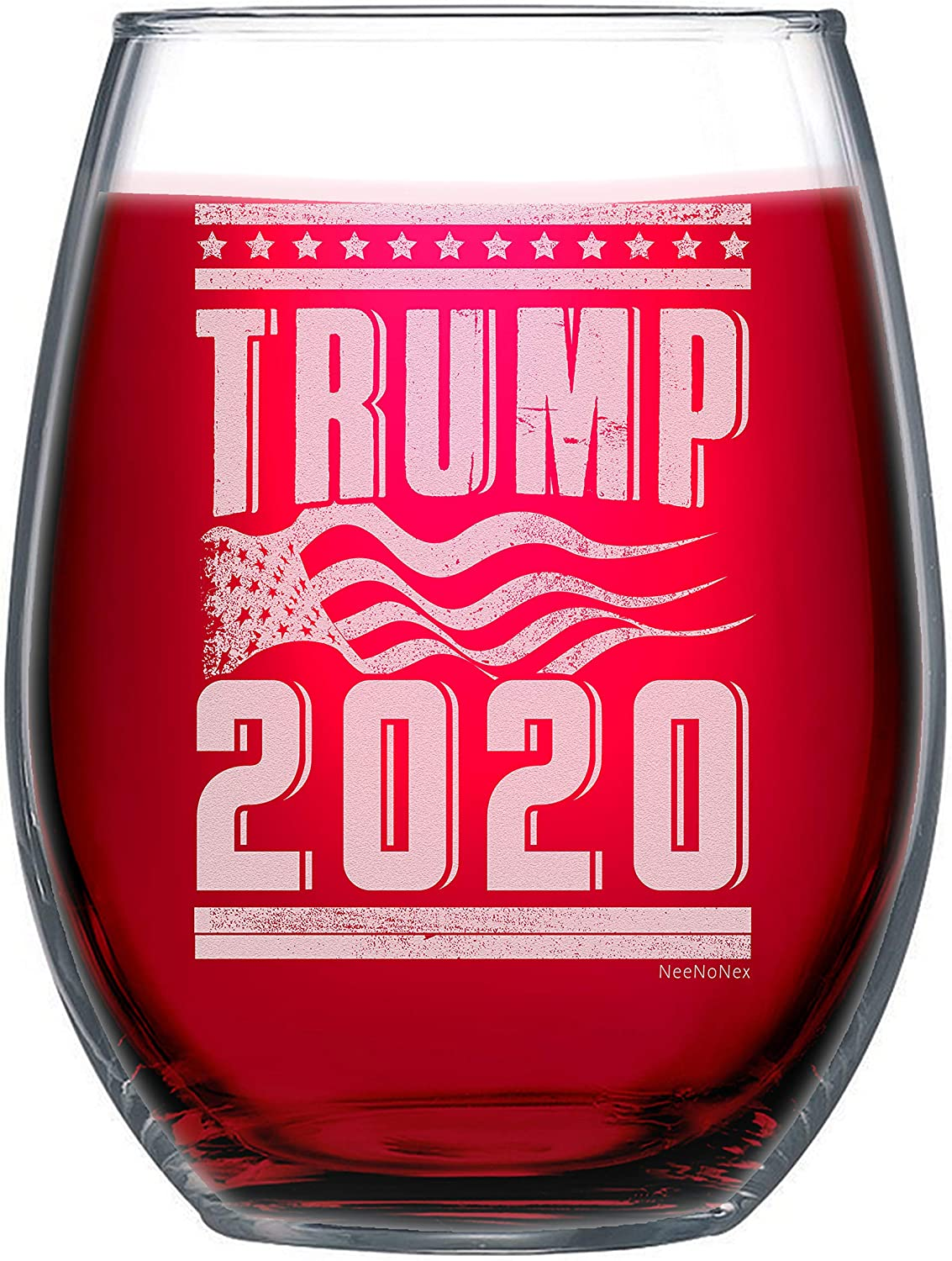 NeeNoNex Trump 2020 with American Max 43% OFF Stemless Ranking TOP8 Wine Glass Flag
