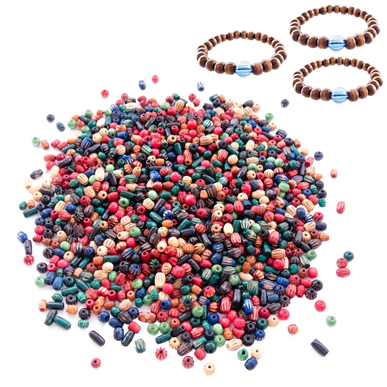 Over 1800 Pieces Wood Beads for Jewelry Making with 3 Free Sample Bracelets - Assorted Natural Wooden Bead Styles - Great for African, Native American Designs, Macramé Bracelets, Necklaces, Braids dvcwydmyqtfgex