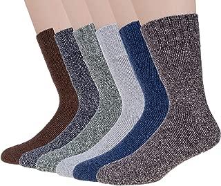 6 Pairs Wool Socks Mens Winter Warm Thermal Soft Casual Socks for Men