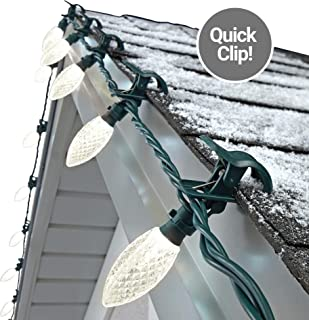 NOMA C9 LED Quick Clip Christmas Lights | Simple Built-in Clip-On Outdoor String Lights | Clear Warm White Bulbs | UL Certified | 100 Light Set | 66.8 Foot Strand