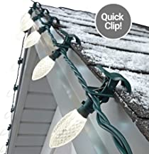 NOMA C9 LED Quick Clip Christmas Lights   Simple Built-in Clip-On Outdoor String Lights   Clear Warm White Bulbs   UL Certified   100 Light Set   66.8 Foot Strand