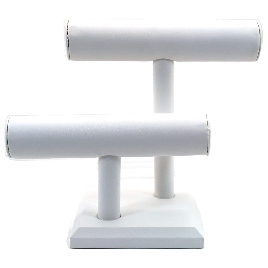 2 Tier White Leather T-Bar Bracelet Watch Jewelry Display Stand