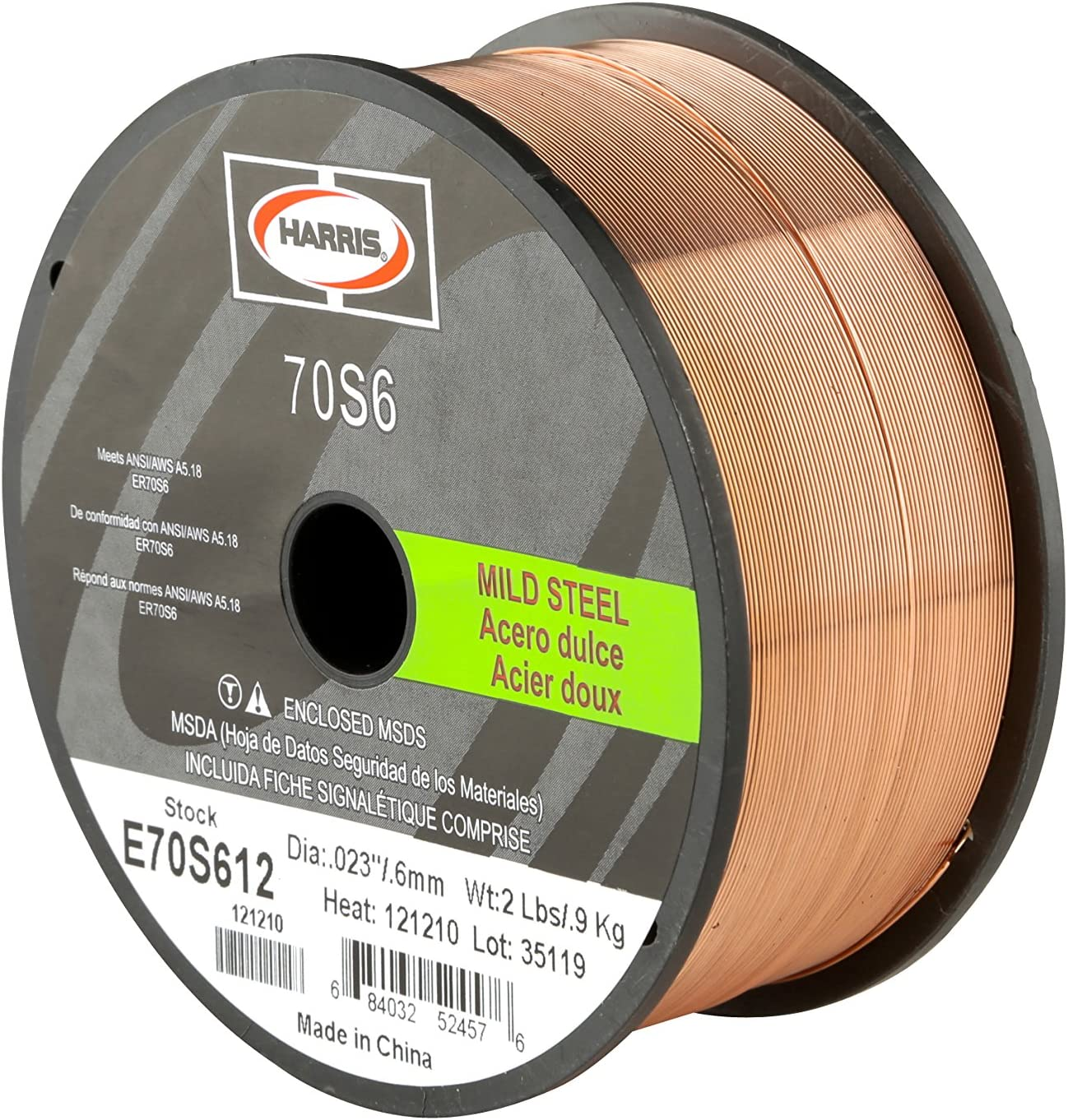 Harris E70S6F8 ER70S-6 Deluxe MS Spool with 3 Welding Wire lb. x 0.035 National uniform free shipping