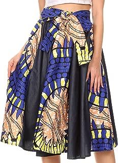Dayo Circle Mid Skirt with Elastic Waist Colorful Ankara African Wax Dutch