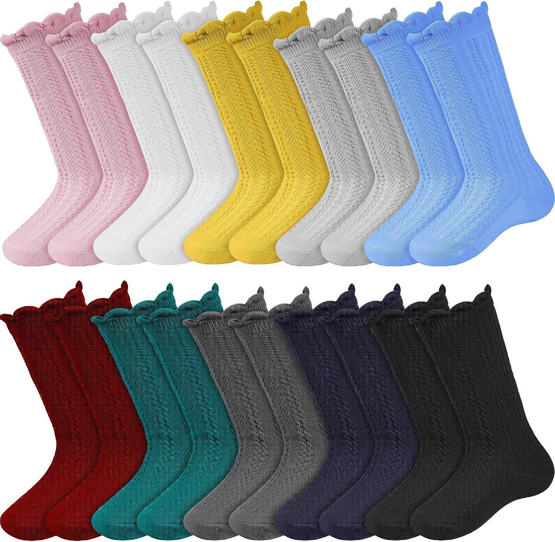 10 Pairs Baby Knee Long High Socks Tube Ruffled Uniform Long Stockings for Toddler Newborn Infants (S)