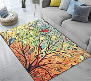 Area Rug Colorful Tree Psychedelic Forest with Birds Large Floor Mat for for Kids Bedroom Living Room Dorm Decor 5' x 6.6'