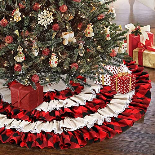 AerWo Christmas Tree Skirt 48 inches, Red Black Buffalo Check and Burlap Christmas Tree Skirt for Holiday Christmas D...