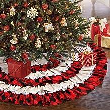 AerWo Christmas Tree Skirt 48 inches, Red Black Buffalo Check and Burlap Christmas Tree Skirt for Holiday Christmas Decora...