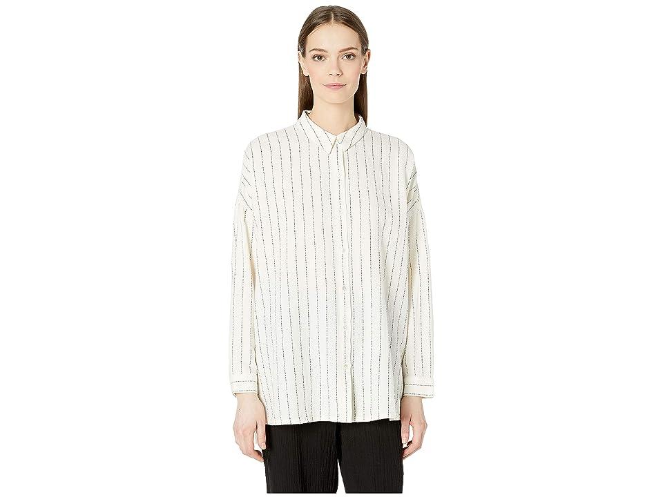 Eileen Fisher Classic Collar Boxy Shirt (Ecru) Women