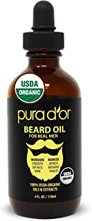 PURA D'OR Beard Oil (4oz / 118mL) USDA Organic 100% Pure Natural Leave-In Conditioner w/Argan & Jojoba Oil - Mustache Care & Maintenance. Helps Increase Softness & Strength FOR MEN (Packaging Varies)