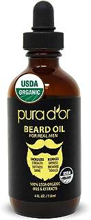 PURA D'OR Beard Oil (4oz / 118mL) USDA Organic 100% Pure Natural Leave-In Conditioner w/Argan & Jojoba Oil - Mustache Care...