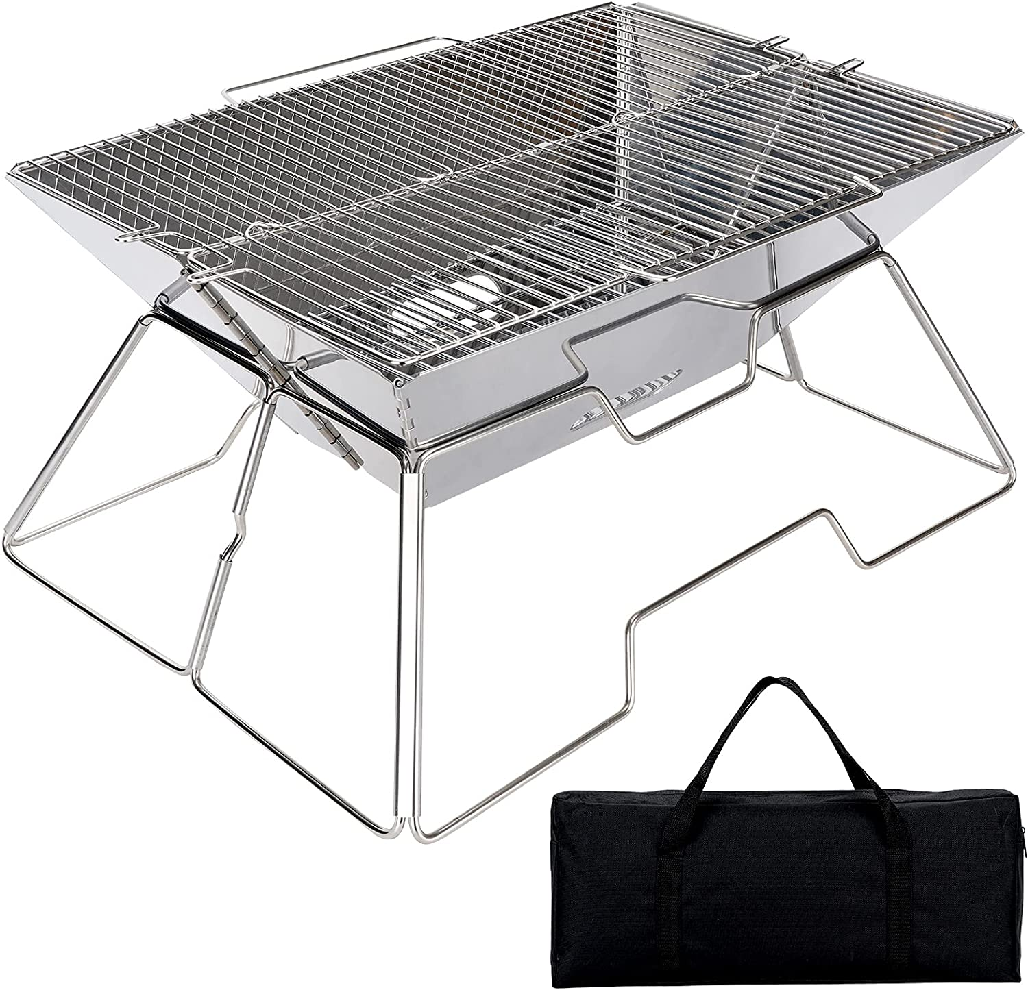 Folding Campfire Grill Camping Fire Wood Bur Stove Excellent Outdoor Direct stock discount Pit