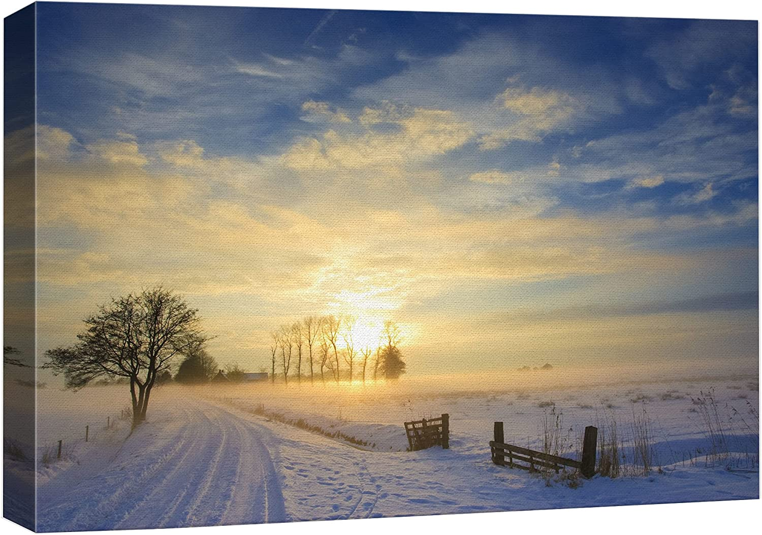 wall26 Canvas Print Wall Art Sunset with free discount in Landscape Sno Winter