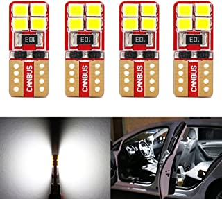 Phinlion Super Bright 2835 8-SMD Wedge T10 168 194 2825 LED Bulbs for Car Interior Dome Map Door Courtesy License Plate Lights 6000K Xenon White (Pack of 4)