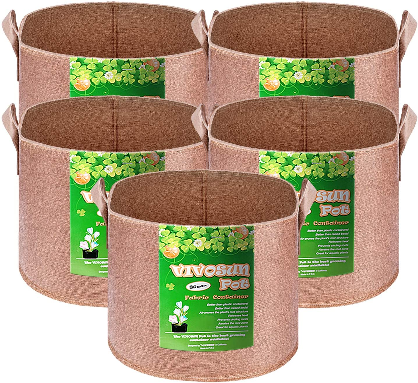 VIVOSUN 5-Pack 30 Animer and price Gifts revision Gallons Heavy Duty Fabric Thickened Nonwoven P