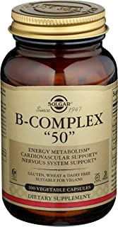 "Solgar B-Complex ""50"", 100 Vegetable Capsules - Energy Metabolism, Cardiovascular Support, Nervous System Support - Non-GM..."