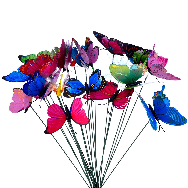 24 Piezas Mariposas Libélulas Coloridas de Jardín Adornos de Patio en Palos para Decoración de Planta, Yarda Exterior, Ornamento de Jardín: Amazon.es: Bricolaje y herramientas