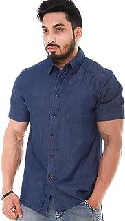 Twist Mens Denim Regular Fit Half Sleeve Plus Size Shirt (Size M to 6XL)