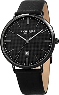 Akribos Stamped Checkered Design Men's Watch - Matte Case Textured Dial with Date Window Genuine Leather Strap Watch - AK935