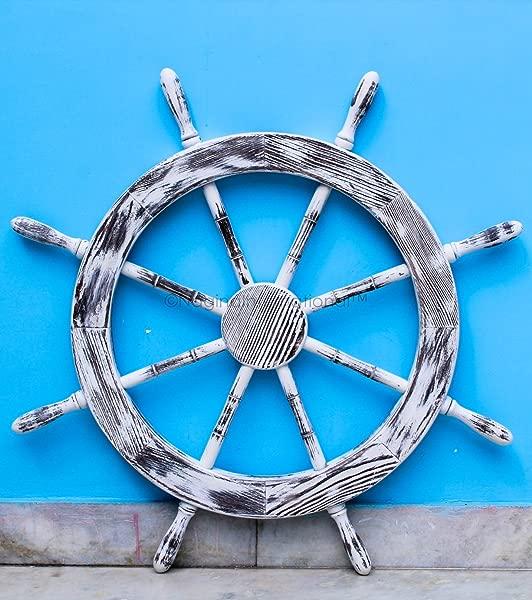 Nagina International 30 Antique White Nautical Decorative Premium Pine Wood Ship Wheel Captain Maritime Beach Home Decor Gift