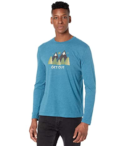 Life is Good Get Out Long Sleeve Cool Teetm (Persian Blue) Men
