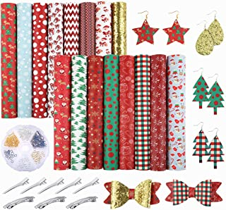 Caydo 16 Pieces ChristmasFaux Leather Sheet with Earring Hooks, Hair Clips, Spring Clips for Making Christmas Theme Hair Bowsand Earrings (6.3 x 8.3 inch)