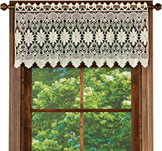 Collections Etc Macrame Curtain Scalloped Valance Window Topper for Bathroom, Bedroom, Kitchen, Ivory