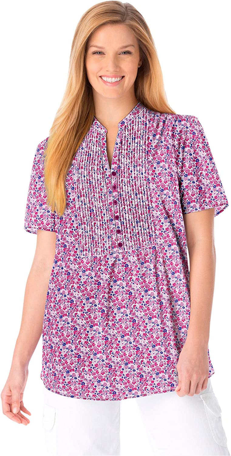 Woman Within Women's Plus Size Pintucked Half-Button Tunic
