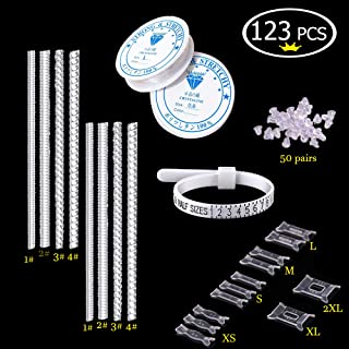 Jewelry DIY Accessory, Jewelry Making Kit with Clear Elastic String+Loose Ring Resize Adjuster+Transparent Earring Backing+ Ring Measuring Gauge