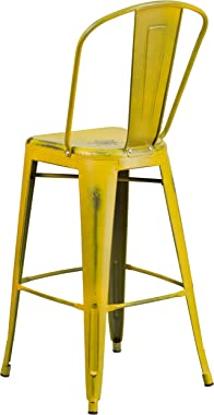 """Flash Furniture Commercial Grade 30"""" High Distressed Yellow Metal Indoor-Outdoor Barstool with Back"""