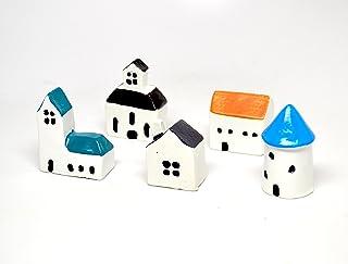 Pixie Glare Fairy Garden Miniature House Set Mediterranean Style - 5 Pack