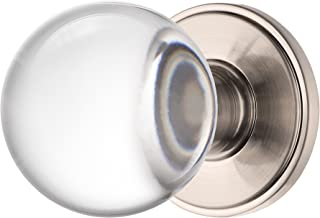 Decor Living, AMG and Enchante Accessories Clear Crystal Ball Door Knobs with Lock, Privacy Function for Bed and Bath, Apollo Collection, Satin Nickel