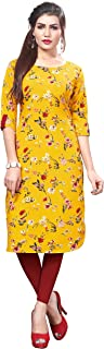 HIVA Trendz Women's Yellow Color Straight Crepe Kurti_151