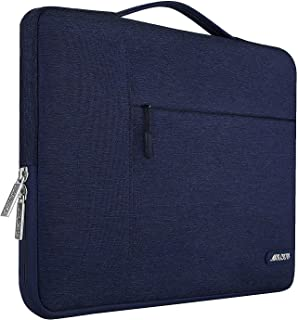 MOSISO Laptop Sleeve Briefcase Handbag Compatible with 15-15.6 Inch MacBook Pro, Notebook Computer, Polyester Multifunctional Carrying Case Protective Bag Cover,Navy Blue