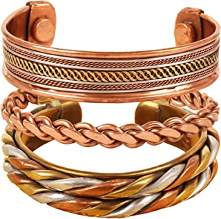 Indian Three Metal Copper Brass Peace Healing Chakra Yoga Meditation Mantra Jewelry Bracelet for Women and Men.