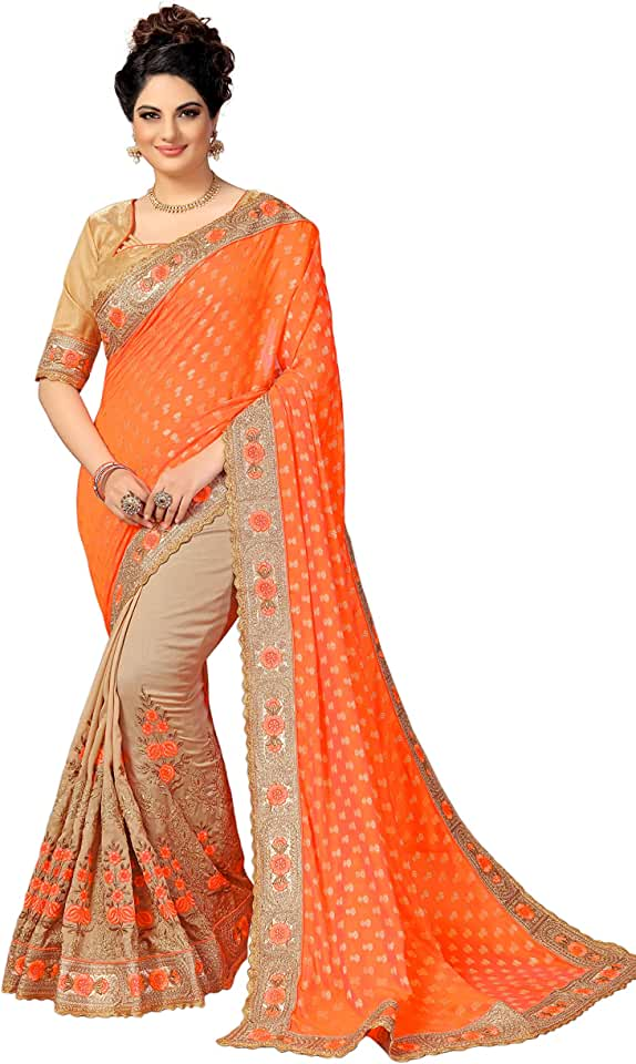 Indian Nivah Fashion Women's Jacquard Silk Saree With Unstiched Blouse Piece Saree
