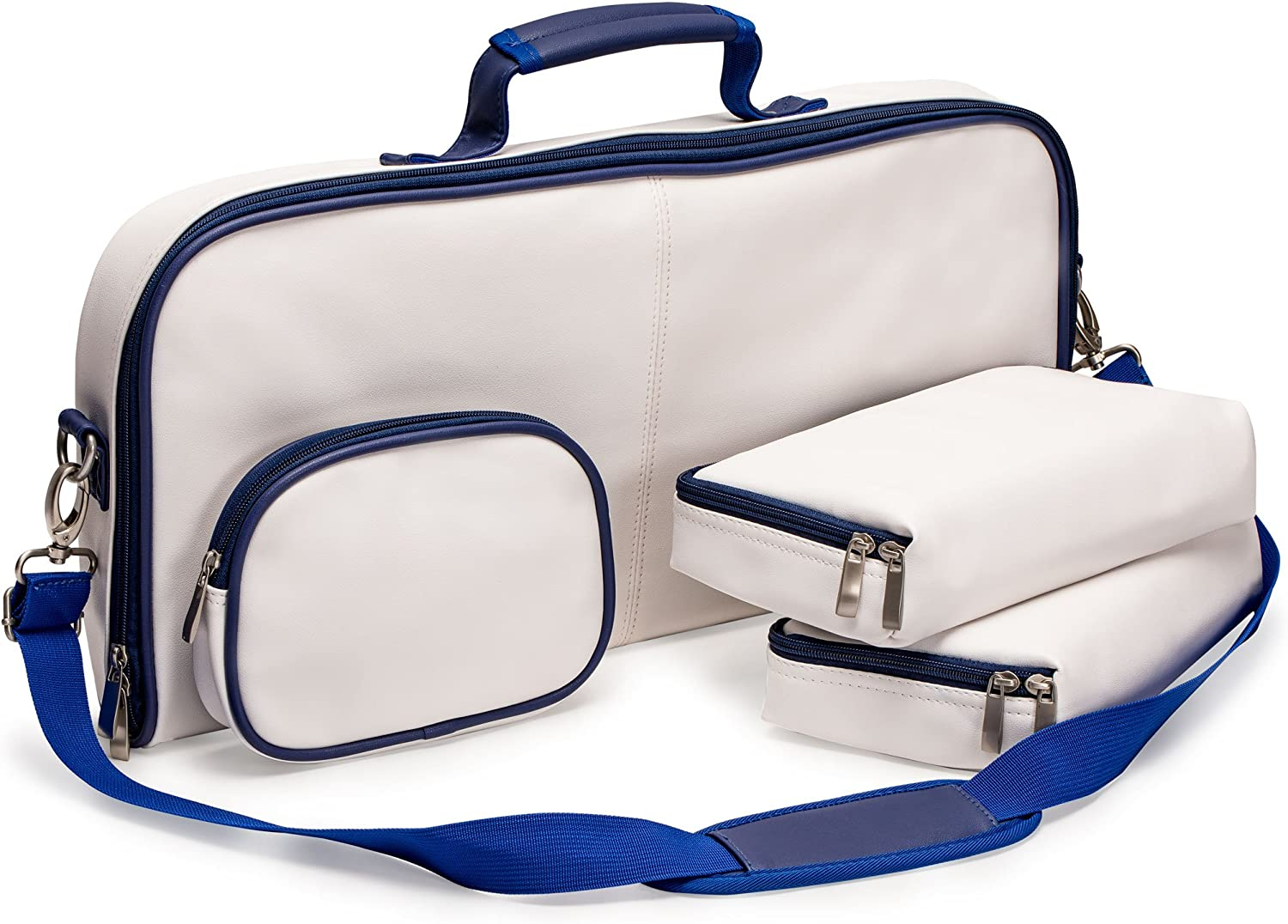 Yellow Mountain Imports Soft Leatherette Case for Mahjong (Mah Jong, Mahjongg, MahJongg, Mah Jongg, Majiang) Set, White with bluee Trim
