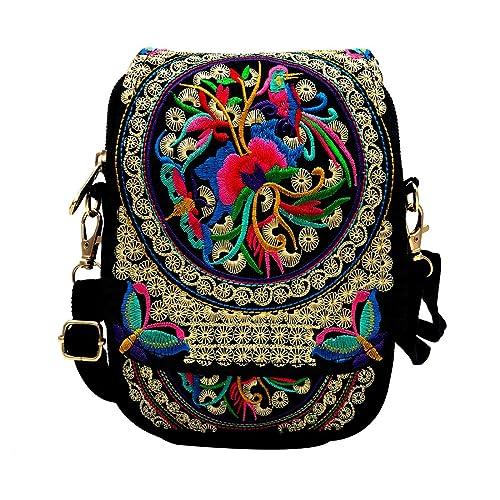 Tofantifer Purse and Handbag Crossbody Bag for Women Canvas Cellphone Zipper Pockets Flower Embroidered Pouch