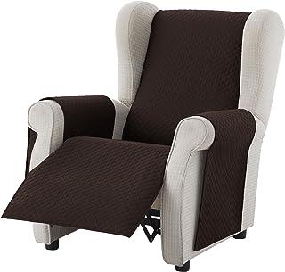 Textilhome - Funda Cubre Sofá Adele 1 PlazaRelax Protector para Sofás Acolchado Reversible. Color Marrón