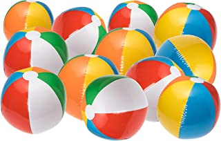 NJ Novelty Large Inflatable Beach Balls 20 Inch, Pack of 12 Rainbow Colored for Pool Party, Summer Water Fun and Birthday Parties - Bulk Pack for Adults and Children