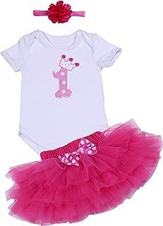 BabyPreg Baby M/ädchen 3PCs Erster Geburtstag Onesie Tutu-Kleid Stirnband
