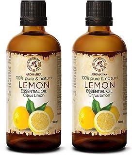 Aceite de Limón 2x100ml - Limón Cítrico - Italia - 100% Puro para Buen Sueño - Cuidado Corporal - Belleza - Relajación - A...