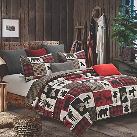 Quilt Bedding Set in King by Virah Bella - Lodge Life Printed Lightweight Reversible Quilt with 2 Matching Pillow Shams - Cozy & Beautiful Lodge-Themed Bedding