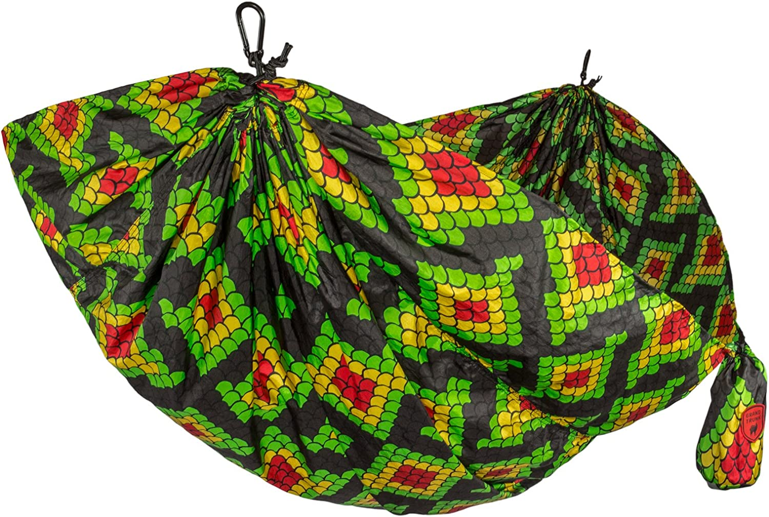 (Rasta Scales)  Grand Trunk Double Parachute Compact Portable Nylon Print Hammock with Carabiners and Hanging Kit