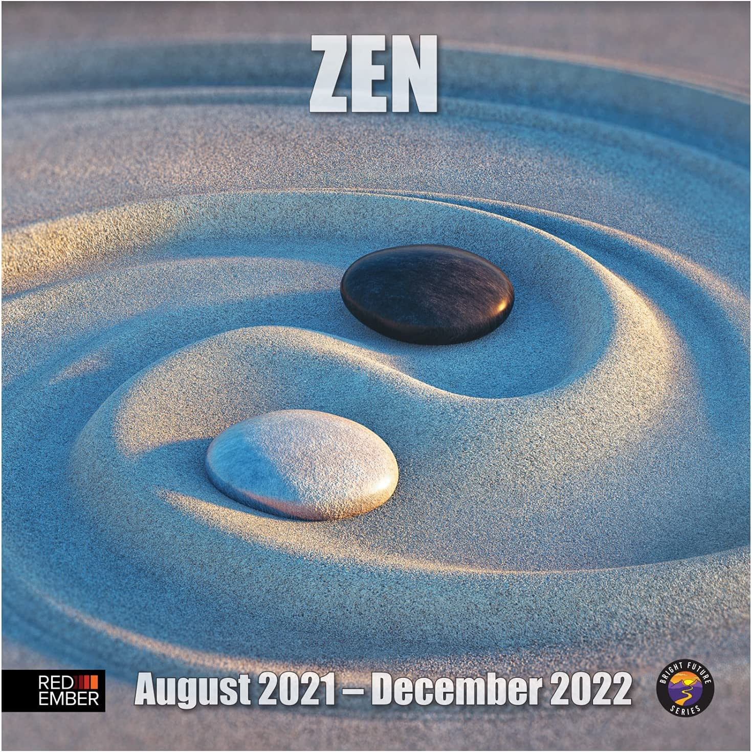 RED EMBER Zen (Deluxe Edition) Hangable Wall Calendar - August 2021 to Dec 2022 - 17 Full Page Months - 12 in. x 24 Inches When Open - Thick & Sturdy Glossy Paper - Set a Peaceful Mood