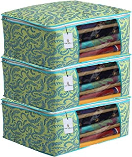 Kuber Industries Metalic Flower 3 Piece Non Woven Saree Cover Set, 7 inch, Green