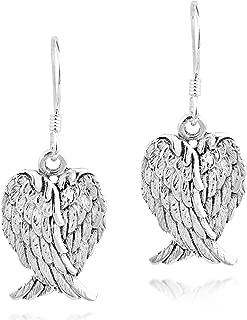 Heavenly Love Heart Shaped Angel Wings .925 Sterling Silver Dangle Earrings
